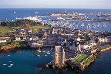 An aerial view of St Malo in the distance
