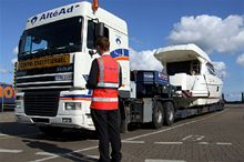 Brittany Ferries staff overseeing an abnormal freight load