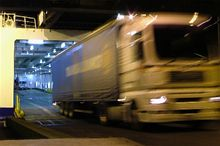 Image depicting Freight lorry driving off a Brittany Ferries ferry