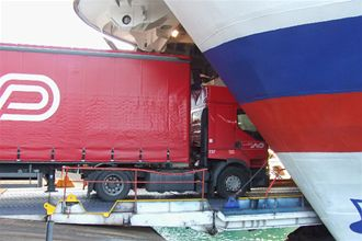 Image depicting Freight lorry driving on board