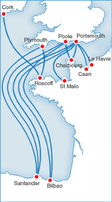 Image depicting Brittany Ferries Freight Ferry Route Map