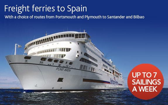 Freight ferries to Spain - 7 sailings a week