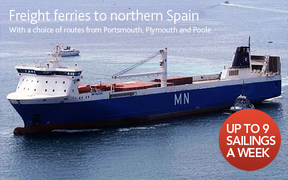 Freight ferries to Spain - 9 sailings a week
