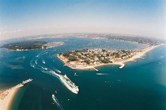 An aerial view of Poole harbour