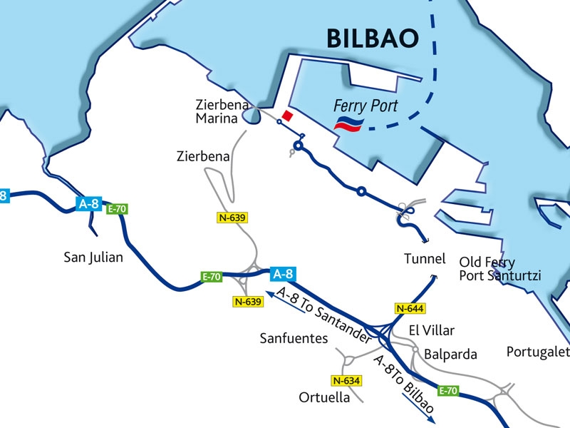 Map Of Spain With Distances.Bilbao Port Guide Brittany Ferries