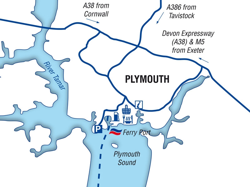 Map Of Uk Ferry Routes.Plymouth Port Guide Brittany Ferries