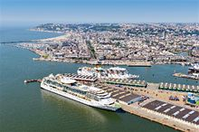 An aerial view of Le Havre port and city in the distance - Copyright: Patrice LE BRIS